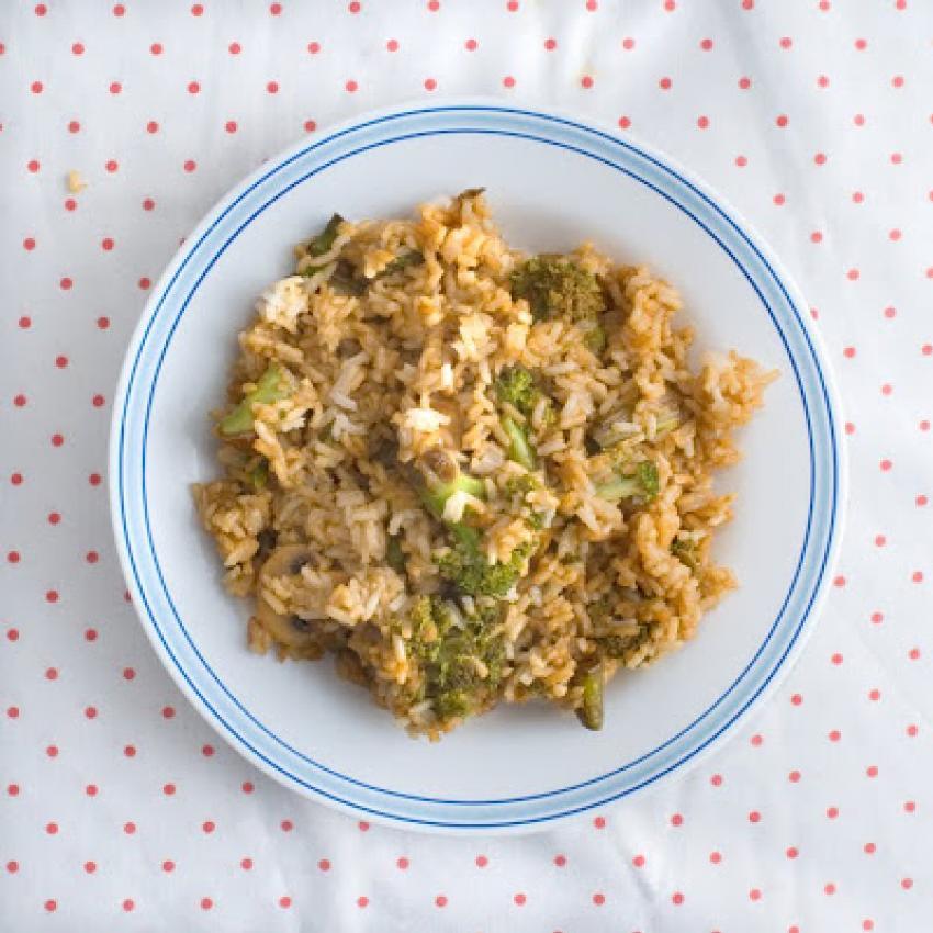 Arroz con brócoli y salsa de soja